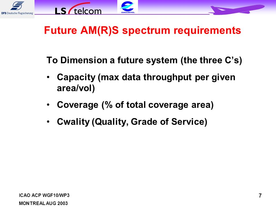 ICAO ACP WGF10/WP3 MONTREAL AUG Future AM(R)S spectrum requirements To Dimension a future system (the three Cs) Capacity (max data throughput per given area/vol) Coverage (% of total coverage area) Cwality (Quality, Grade of Service)