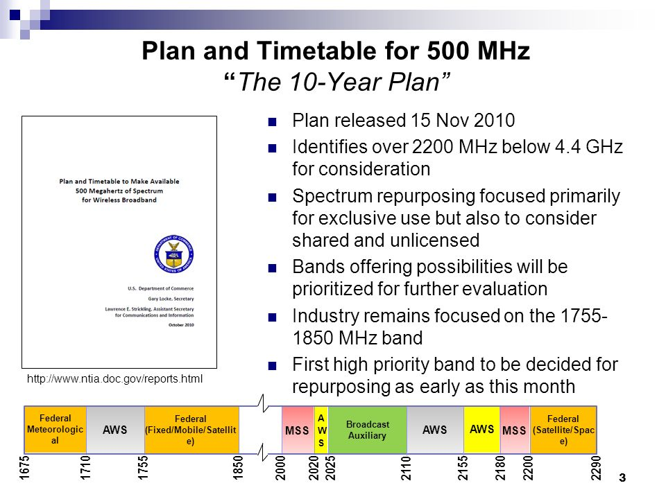 Plan and Timetable for 500 MHzThe 10-Year Plan Plan released 15 Nov 2010 Identifies over 2200 MHz below 4.4 GHz for consideration Spectrum repurposing