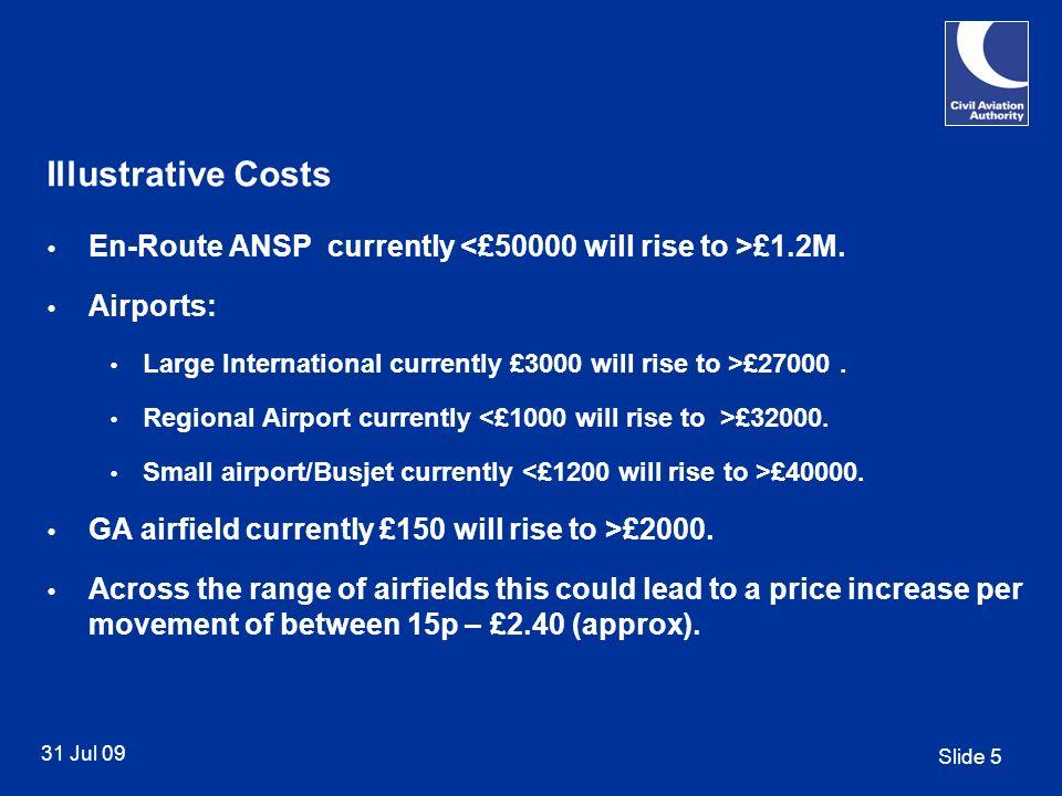 Slide 5 31 Jul 09 Illustrative Costs En-Route ANSP currently £1.2M.