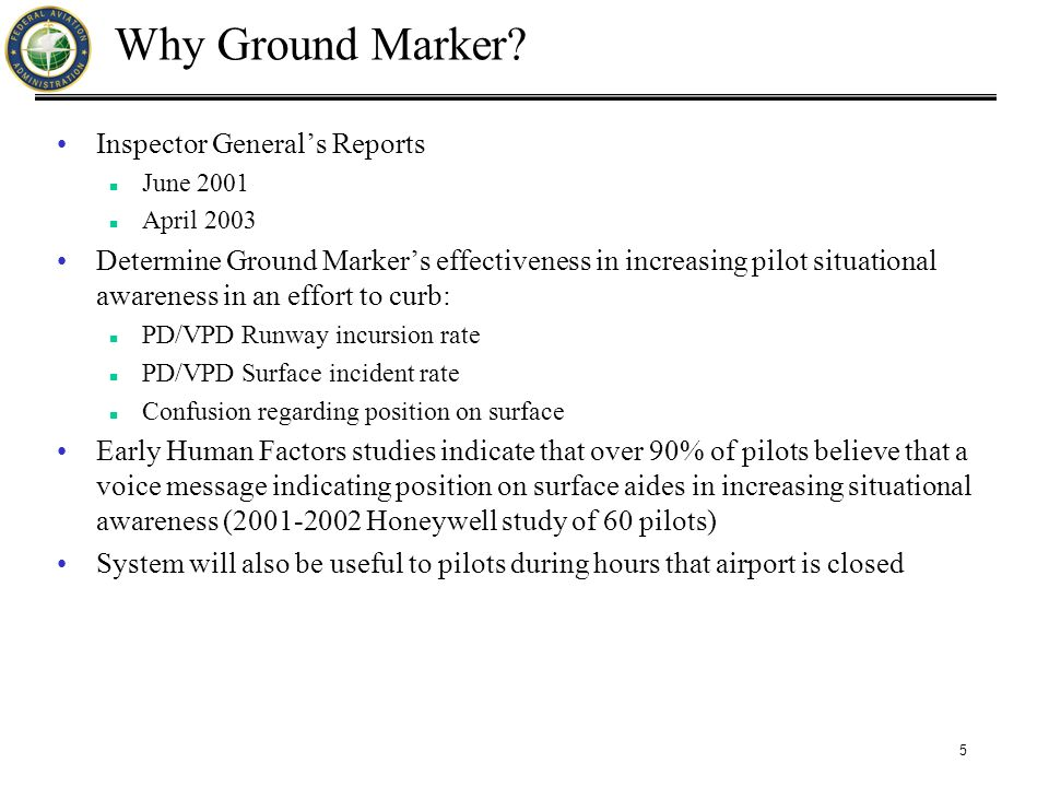 5 Why Ground Marker.