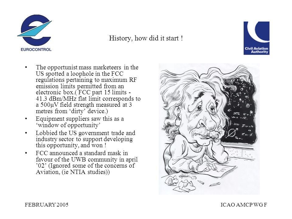 FEBRUARY 2005ICAO AMCP WG F History, how did it start .