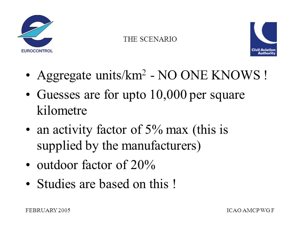FEBRUARY 2005ICAO AMCP WG F THE SCENARIO Aggregate units/km 2 - NO ONE KNOWS .