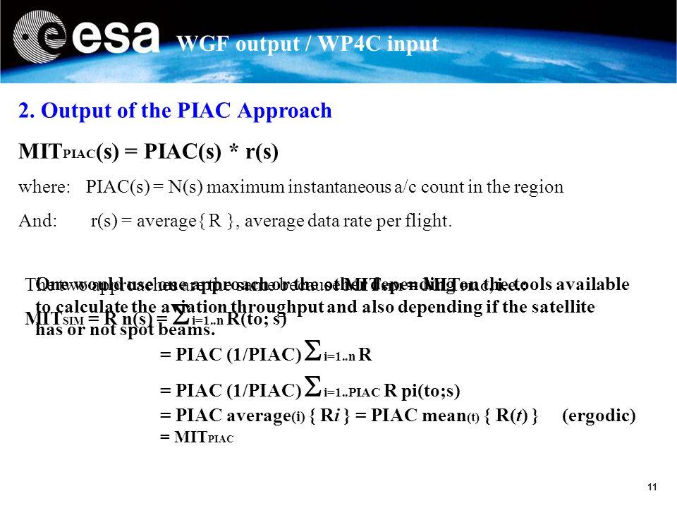 11 WGF output / WP4C input 2.