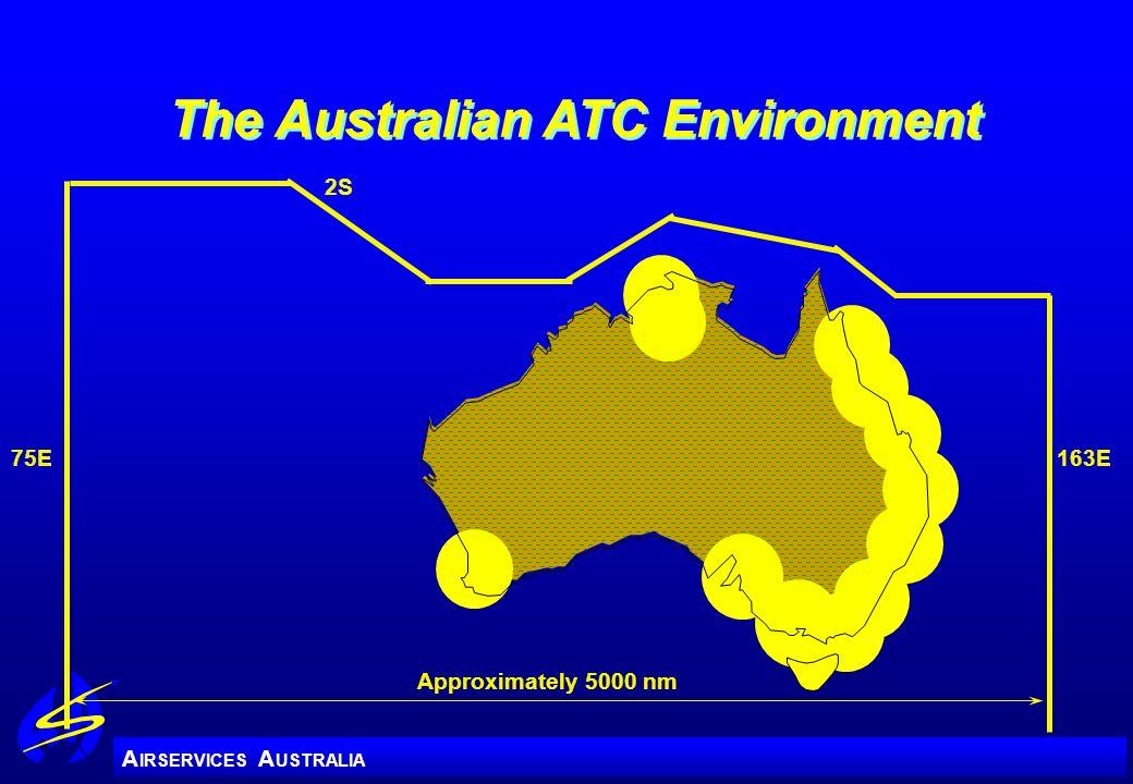 A IRSERVICES A USTRALIA The Australian ATC Environment 75E Approximately 5000 nm 2S 163E