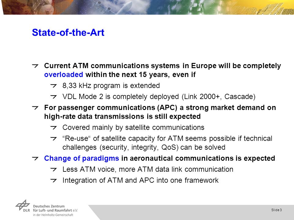 Slide 3 State-of-the-Art Current ATM communications systems in Europe will be completely overloaded within the next 15 years, even if 8,33 kHz program is extended VDL Mode 2 is completely deployed (Link 2000+, Cascade) For passenger communications (APC) a strong market demand on high-rate data transmissions is still expected Covered mainly by satellite communications Re-use of satellite capacity for ATM seems possible if technical challenges (security, integrity, QoS) can be solved Change of paradigms in aeronautical communications is expected Less ATM voice, more ATM data link communication Integration of ATM and APC into one framework