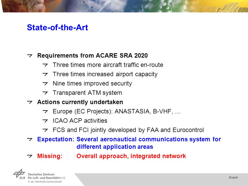 Slide 5 State-of-the-Art Requirements from ACARE SRA 2020 Three times more aircraft traffic en-route Three times increased airport capacity Nine times improved security Transparent ATM system Actions currently undertaken Europe (EC Projects): ANASTASIA, B-VHF, … ICAO ACP activities FCS and FCI jointly developed by FAA and Eurocontrol Expectation:Several aeronautical communications system for different application areas Missing:Overall approach, integrated network