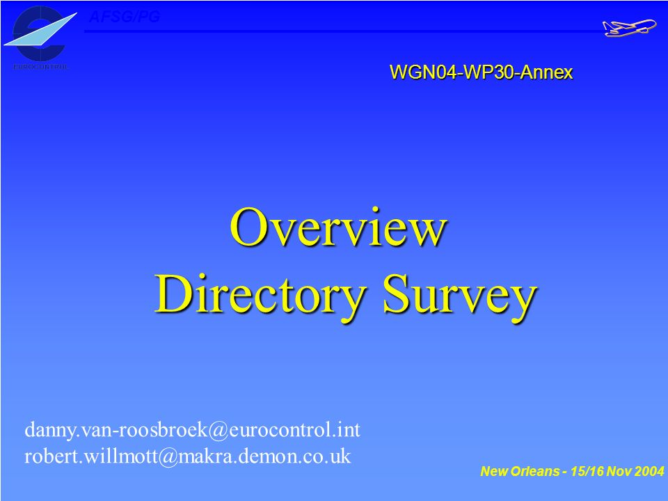 WGN04-WP30-Annex Overview Directory Survey Directory Survey danny.van-roosbroek@eurocontrol.int robert.willmott@makra.demon.co.uk New Orleans - 15/16