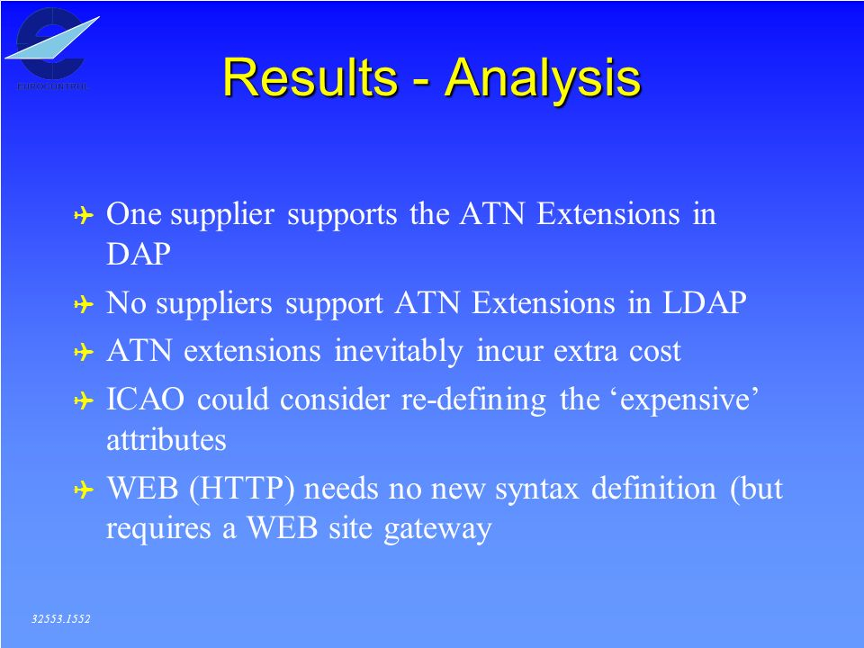 Results - Analysis ( One supplier supports the ATN Extensions in DAP ( No suppliers support ATN Extensions in LDAP ( ATN extensions inevitably incur extra cost ( ICAO could consider re-defining the expensive attributes ( WEB (HTTP) needs no new syntax definition (but requires a WEB site gateway 32553.1552