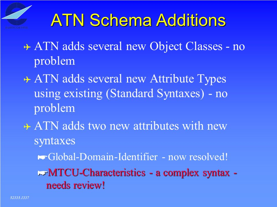 ATN Schema Additions ( ATN adds several new Object Classes - no problem ( ATN adds several new Attribute Types using existing (Standard Syntaxes) - no problem ( ATN adds two new attributes with new syntaxes *Global-Domain-Identifier - now resolved.