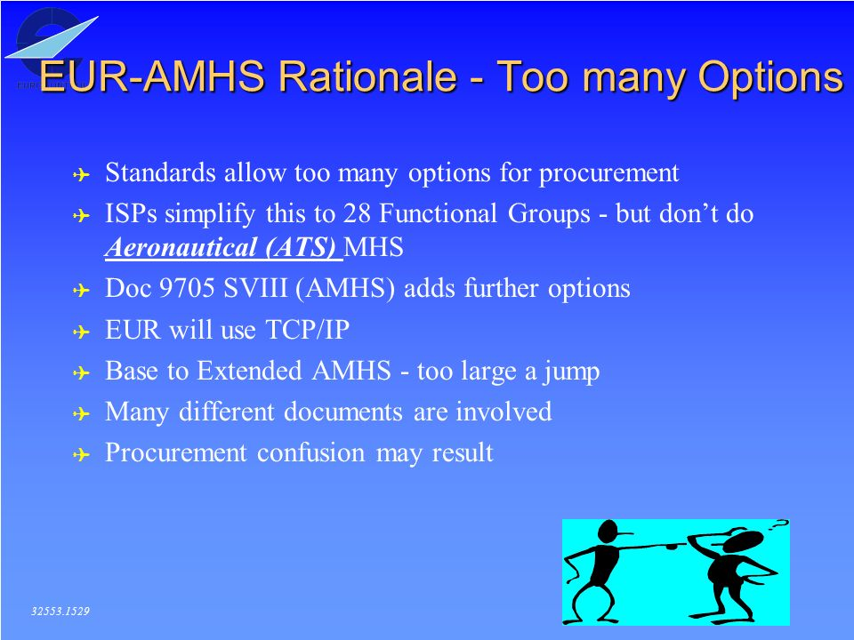 2 EUR-AMHS Rationale - Too many Options 32553.1529 ( Standards allow too many options for procurement ( ISPs simplify this to 28 Functional Groups - but dont do Aeronautical (ATS) MHS ( Doc 9705 SVIII (AMHS) adds further options ( EUR will use TCP/IP ( Base to Extended AMHS - too large a jump ( Many different documents are involved ( Procurement confusion may result