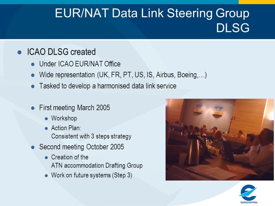 EUR/NAT Data Link Steering Group DLSG ICAO DLSG created Under ICAO EUR/NAT Office Wide representation (UK, FR, PT, US, IS, Airbus, Boeing,…) Tasked to develop a harmonised data link service First meeting March 2005 Workshop Action Plan: Consistent with 3 steps strategy Second meeting October 2005 Creation of the ATN accommodation Drafting Group Work on future systems (Step 3)