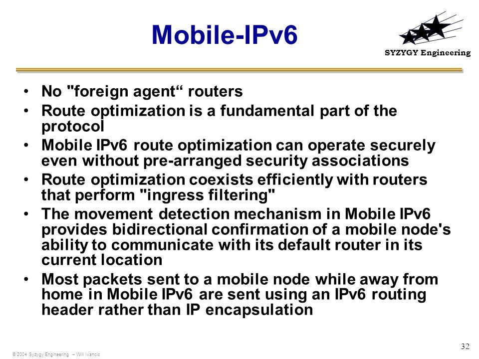SYZYGY Engineering 32 Mobile-IPv6 No