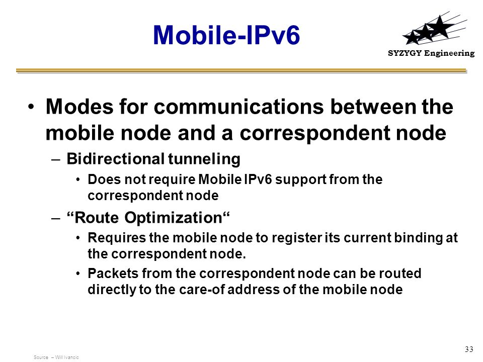 SYZYGY Engineering 33 Mobile-IPv6 Modes for communications between the mobile node and a correspondent node –Bidirectional tunneling Does not require