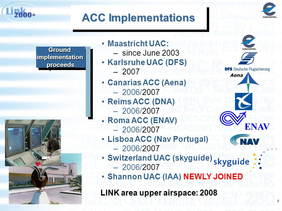 6 Ground implementation proceeds ACC Implementations ACC Implementations ACC Implementations ACC Implementations LINK area upper airspace: 2008 ENAV M