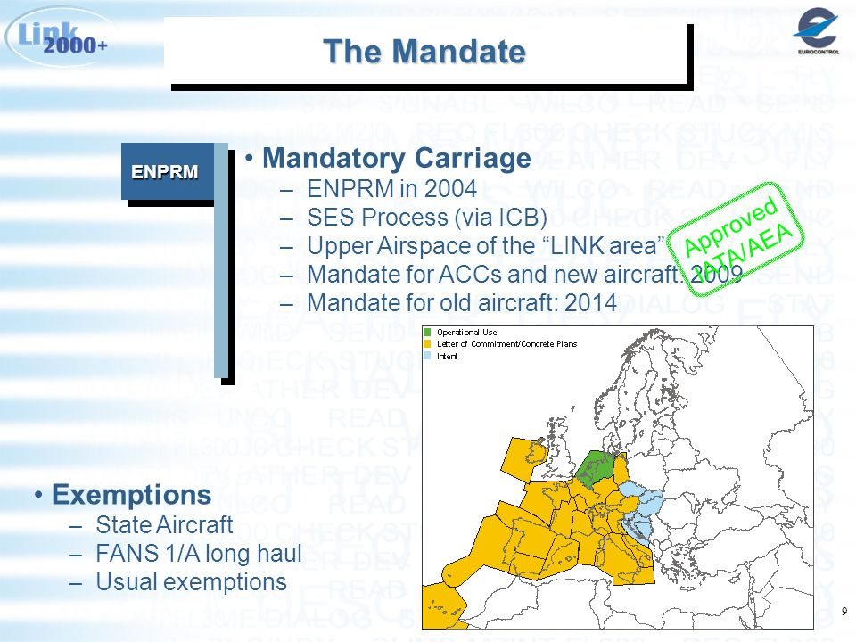 9 ENPRMENPRM The Mandate The Mandate The Mandate The Mandate Mandatory Carriage –ENPRM in 2004 –SES Process (via ICB) –Upper Airspace of the LINK area –Mandate for ACCs and new aircraft: 2009 –Mandate for old aircraft: 2014 Exemptions –State Aircraft –FANS 1/A long haul –Usual exemptions Approved IATA/AEA