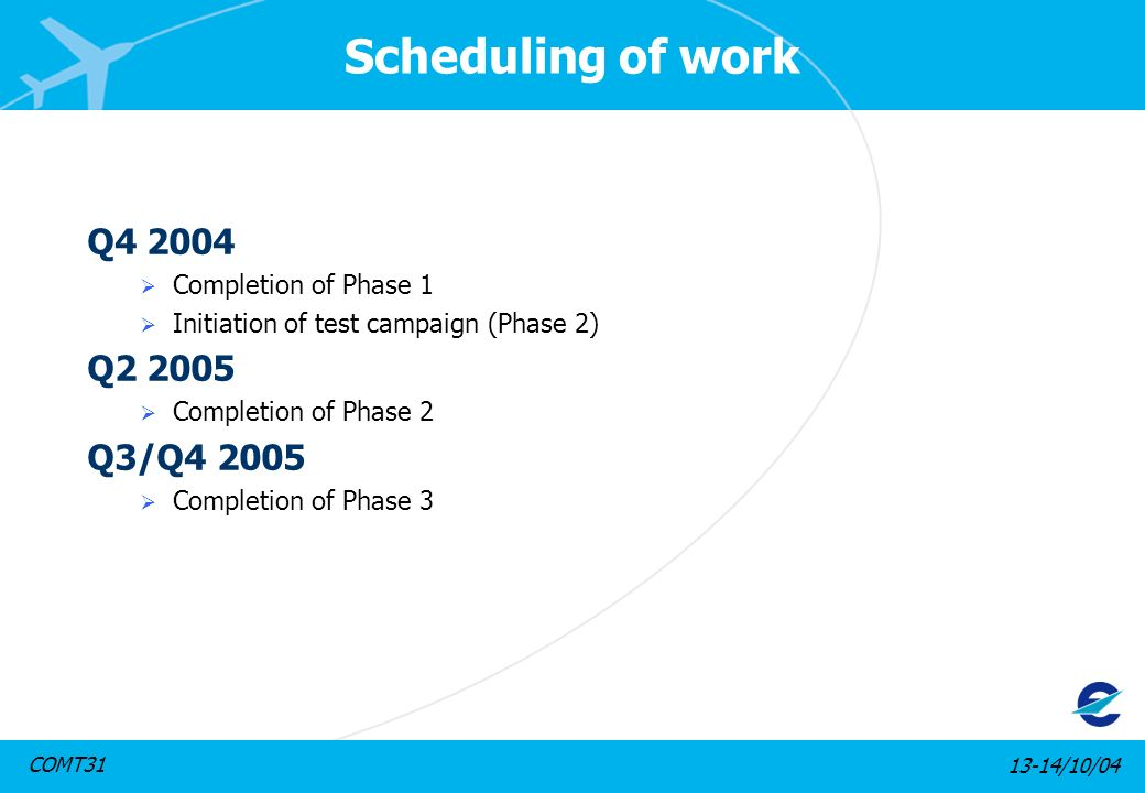 13-14/10/04COMT31 Scheduling of work Q4 2004 Completion of Phase 1 Initiation of test campaign (Phase 2) Q2 2005 Completion of Phase 2 Q3/Q4 2005 Comp