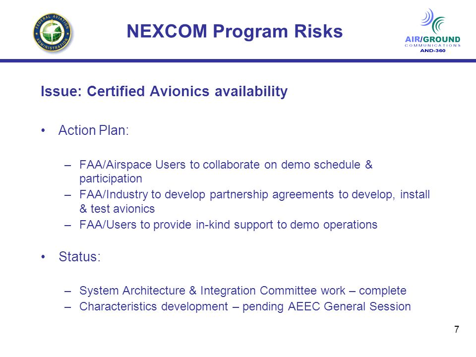 8 NEXCOM Program Recommended Action: Approve initiation of VDL-3 characteristics development based upon existing 750 architecture