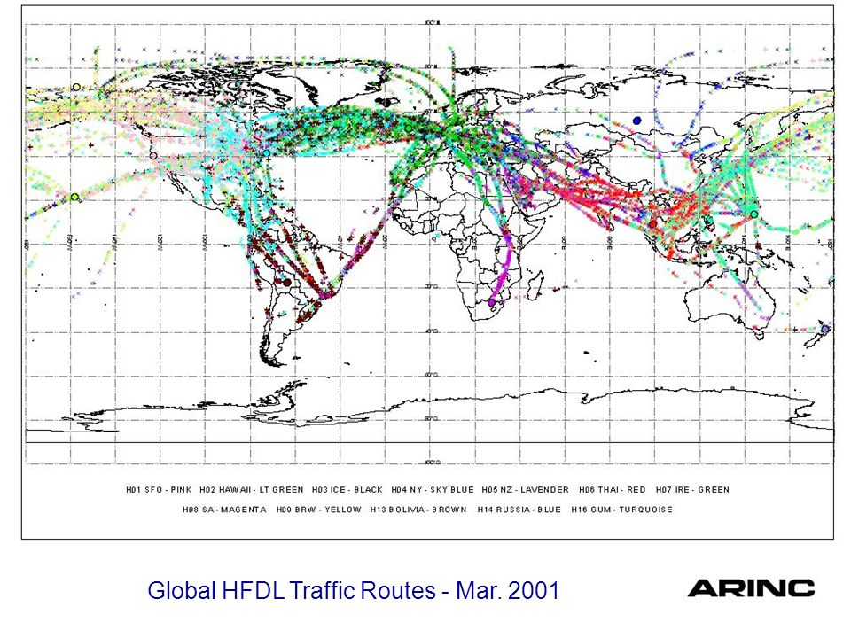 Global HFDL Traffic Routes - Mar. 2001