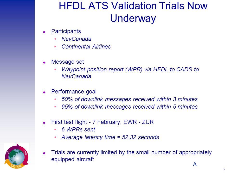 A 7 HFDL ATS Validation Trials Now Underway u Participants NavCanada Continental Airlines u Message set Waypoint position report (WPR) via HFDL to CAD