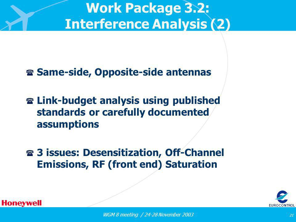 WGM 8 meeting / 24-28 November 2003 21 EUROCONTROL Work Package 3.2: Interference Analysis (2) ( Same-side, Opposite-side antennas ( Link-budget analy