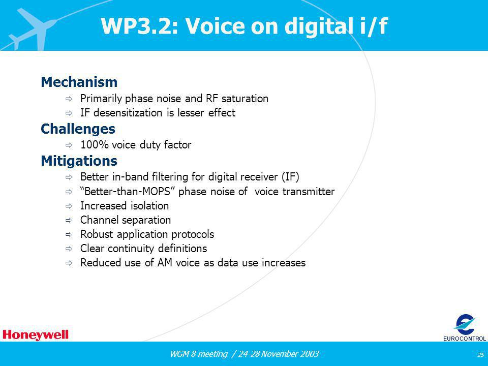 WGM 8 meeting / 24-28 November 2003 25 EUROCONTROL WP3.2: Voice on digital i/f Mechanism Primarily phase noise and RF saturation IF desensitization is