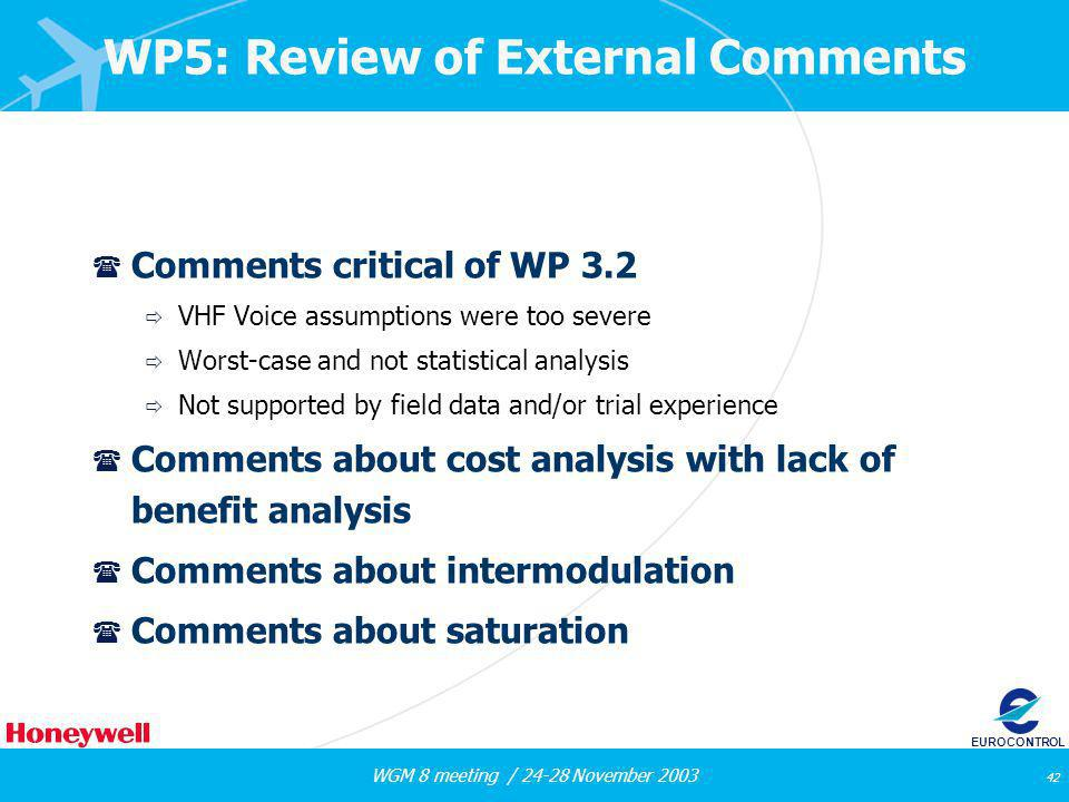 WGM 8 meeting / 24-28 November 2003 42 EUROCONTROL WP5: Review of External Comments ( Comments critical of WP 3.2 VHF Voice assumptions were too sever