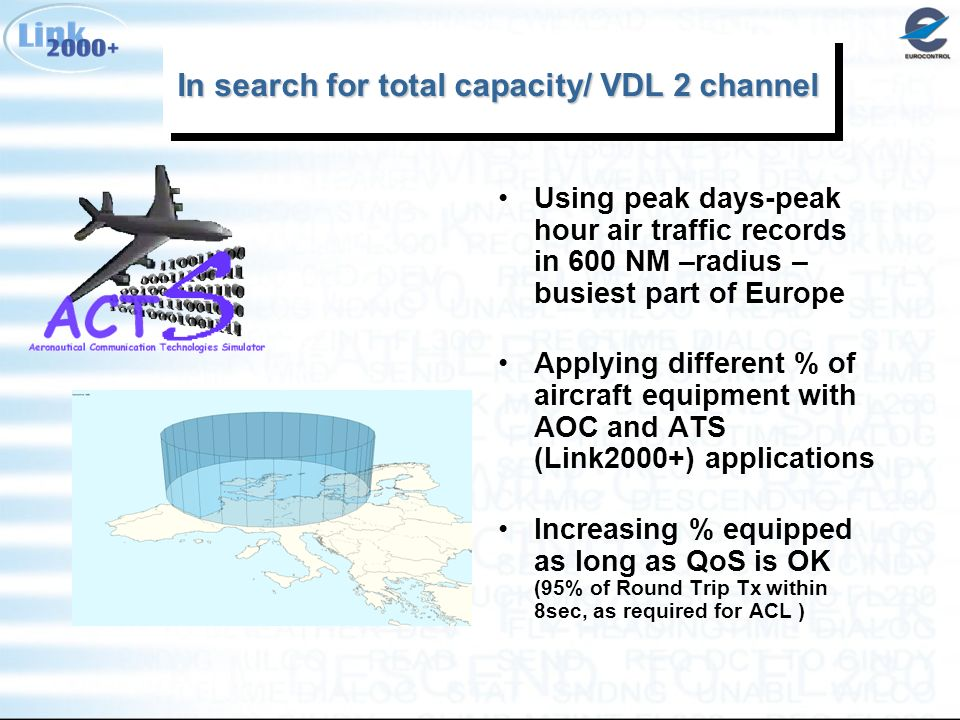 In search for total capacity/ VDL 2 channel Using peak days-peak hour air traffic records in 600 NM –radius – busiest part of Europe Applying different % of aircraft equipment with AOC and ATS (Link2000+) applications Increasing % equipped as long as QoS is OK (95% of Round Trip Tx within 8sec, as required for ACL )