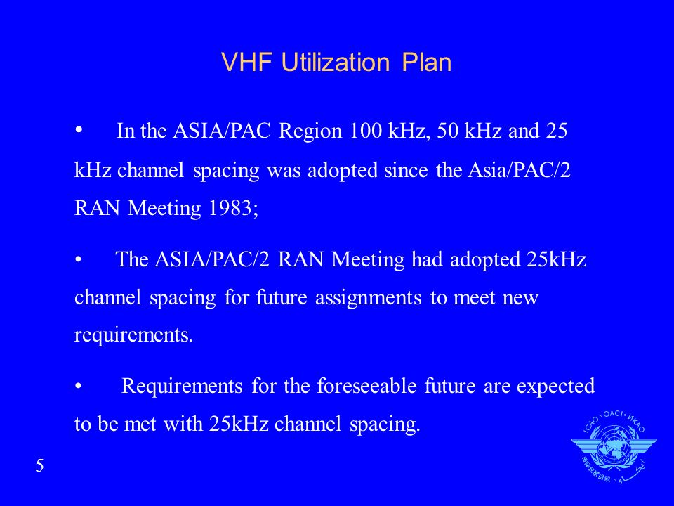 VHF Utilization Plan In the ASIA/PAC Region 100 kHz, 50 kHz and 25 kHz channel spacing was adopted since the Asia/PAC/2 RAN Meeting 1983; The ASIA/PAC/2 RAN Meeting had adopted 25kHz channel spacing for future assignments to meet new requirements.
