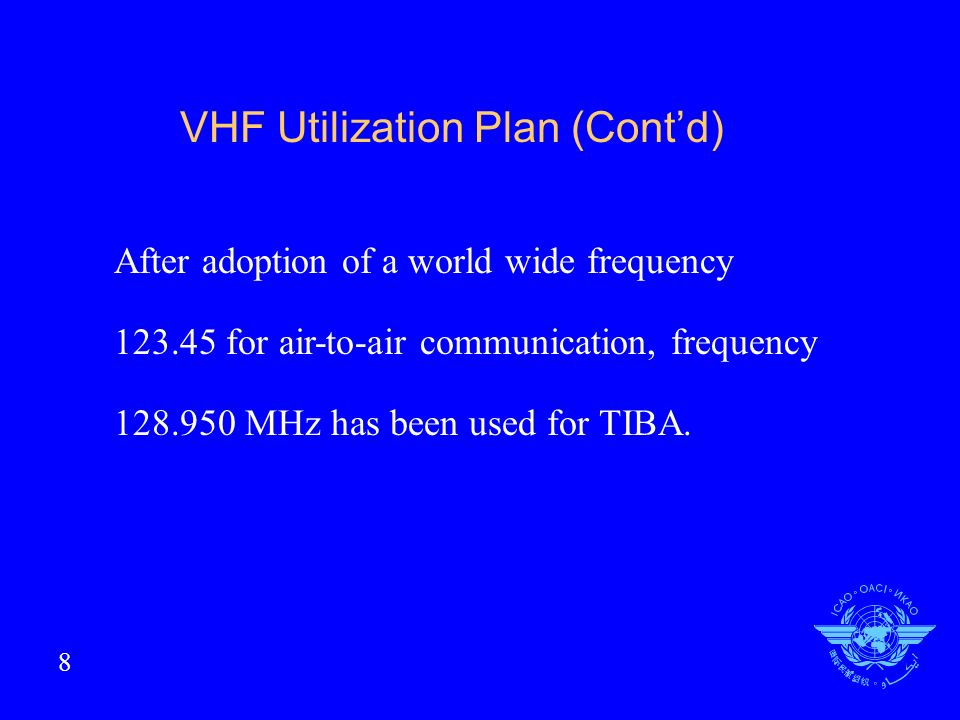 VHF Utilization Plan (Contd) After adoption of a world wide frequency 123.45 for air-to-air communication, frequency 128.950 MHz has been used for TIBA.