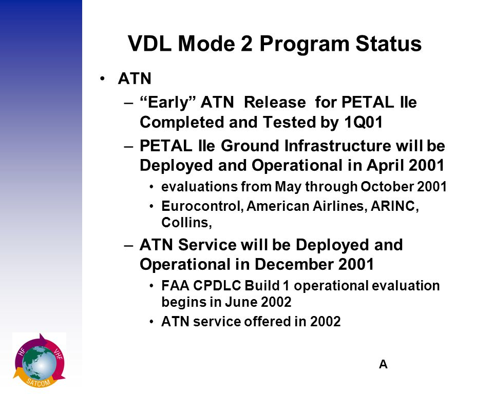A VDL Mode 2 Program Status ATN –Early ATN Release for PETAL IIe Completed and Tested by 1Q01 –PETAL IIe Ground Infrastructure will be Deployed and Operational in April 2001 evaluations from May through October 2001 Eurocontrol, American Airlines, ARINC, Collins, –ATN Service will be Deployed and Operational in December 2001 FAA CPDLC Build 1 operational evaluation begins in June 2002 ATN service offered in 2002