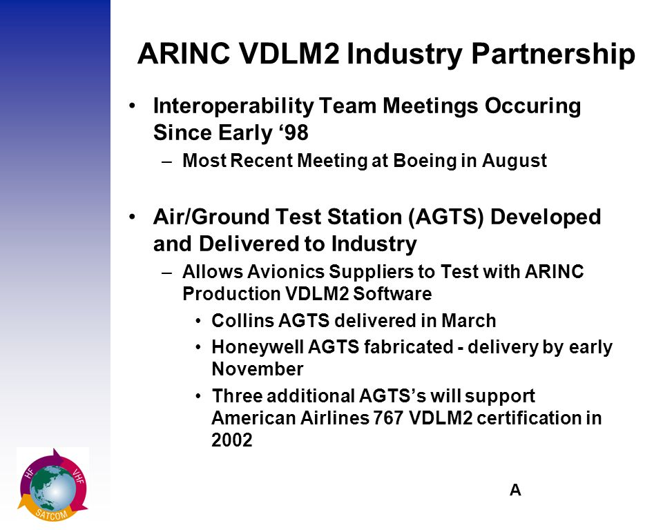 A ARINC VDLM2 Industry Partnership Interoperability Team Meetings Occuring Since Early 98 –Most Recent Meeting at Boeing in August Air/Ground Test Station (AGTS) Developed and Delivered to Industry –Allows Avionics Suppliers to Test with ARINC Production VDLM2 Software Collins AGTS delivered in March Honeywell AGTS fabricated - delivery by early November Three additional AGTSs will support American Airlines 767 VDLM2 certification in 2002