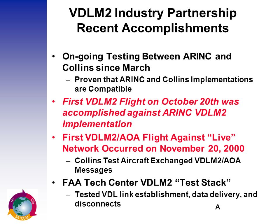 A VDLM2 Industry Partnership Recent Accomplishments On-going Testing Between ARINC and Collins since March –Proven that ARINC and Collins Implementations are Compatible First VDLM2 Flight on October 20th was accomplished against ARINC VDLM2 Implementation First VDLM2/AOA Flight Against Live Network Occurred on November 20, 2000 –Collins Test Aircraft Exchanged VDLM2/AOA Messages FAA Tech Center VDLM2 Test Stack –Tested VDL link establishment, data delivery, and disconnects
