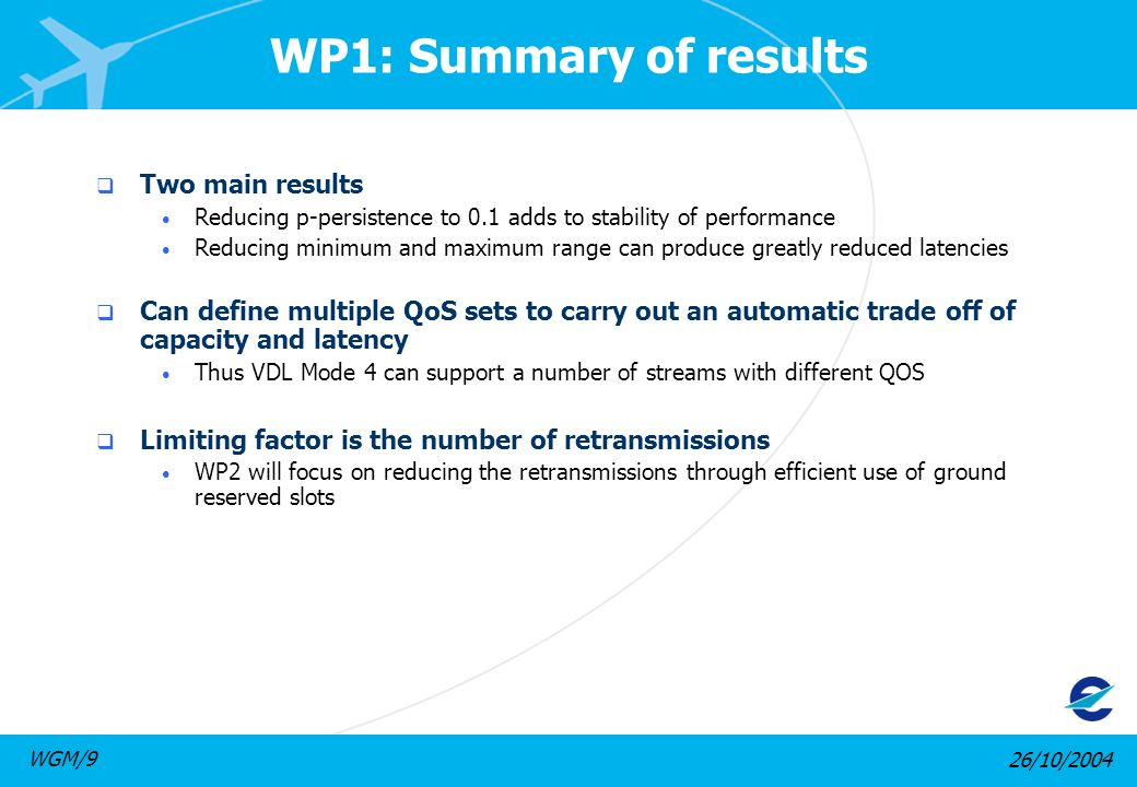 26/10/2004WGM/9 WP1: Summary of results Two main results Reducing p-persistence to 0.1 adds to stability of performance Reducing minimum and maximum range can produce greatly reduced latencies Can define multiple QoS sets to carry out an automatic trade off of capacity and latency Thus VDL Mode 4 can support a number of streams with different QOS Limiting factor is the number of retransmissions WP2 will focus on reducing the retransmissions through efficient use of ground reserved slots