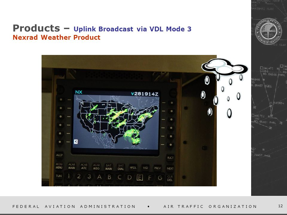 F E D E R A L A V I A T I O N A D M I N I S T R A T I O N A I R T R A F F I C O R G A N I Z A T I O N 12 Products – Uplink Broadcast via VDL Mode 3 Nexrad Weather Product