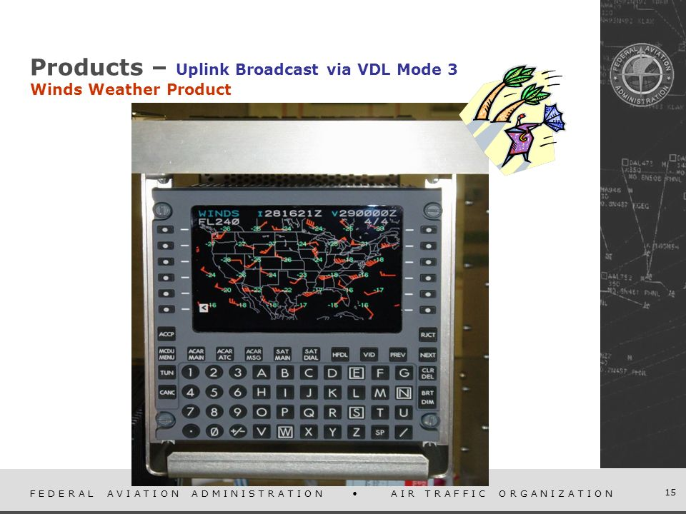 F E D E R A L A V I A T I O N A D M I N I S T R A T I O N A I R T R A F F I C O R G A N I Z A T I O N 15 Products – Uplink Broadcast via VDL Mode 3 Winds Weather Product