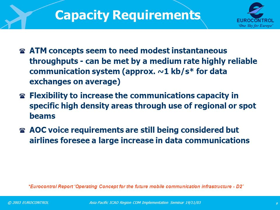Asia Pacific ICAO Region COM Implementation Seminar 19/11/03 20 © 2003 EUROCONTROL EUROCONTROL One Sky for Europe Institutional Aspects ( A number of issues have been identified including - standardisation - ICAO, EUROCAE/RTCA, AEEC, etc AMS(R)S spectrum availability - guaranteed amount of spectrum needed at the right time Service level agreements with providers of satellite and communication services Arrangement between satellite service providers needed if provided by several providers e.g.
