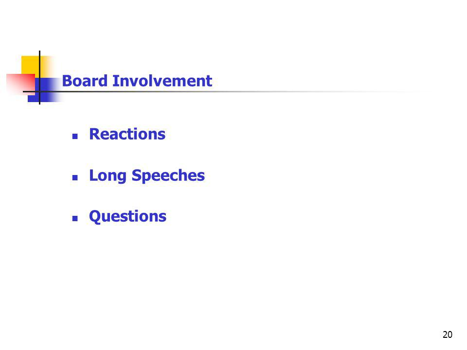 20 Board Involvement Reactions Long Speeches Questions