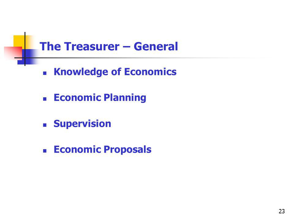 23 The Treasurer – General Knowledge of Economics Economic Planning Supervision Economic Proposals