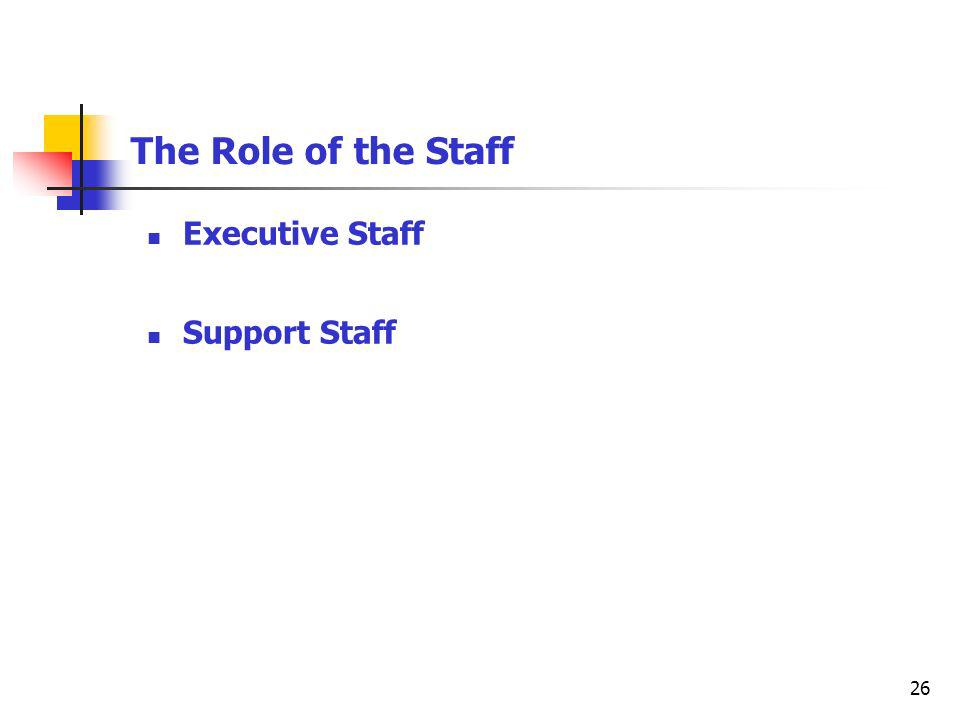 26 The Role of the Staff Executive Staff Support Staff