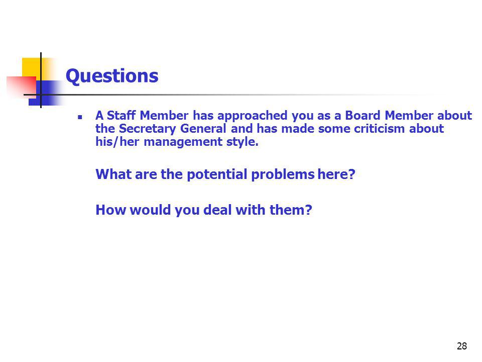 28 Questions A Staff Member has approached you as a Board Member about the Secretary General and has made some criticism about his/her management style.