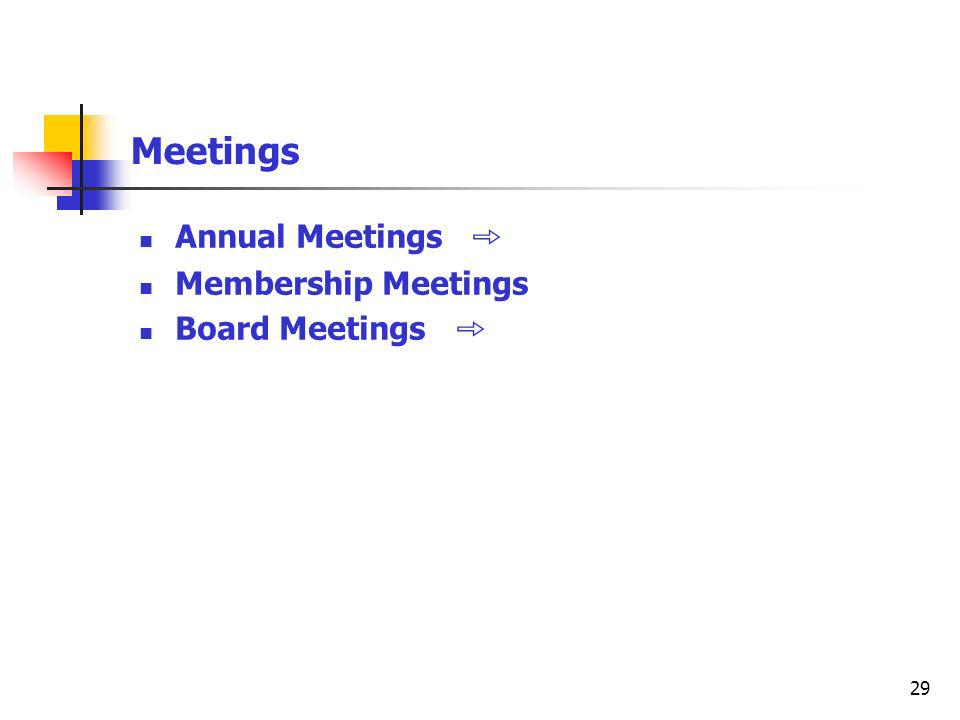 29 Meetings Annual Meetings Membership Meetings Board Meetings