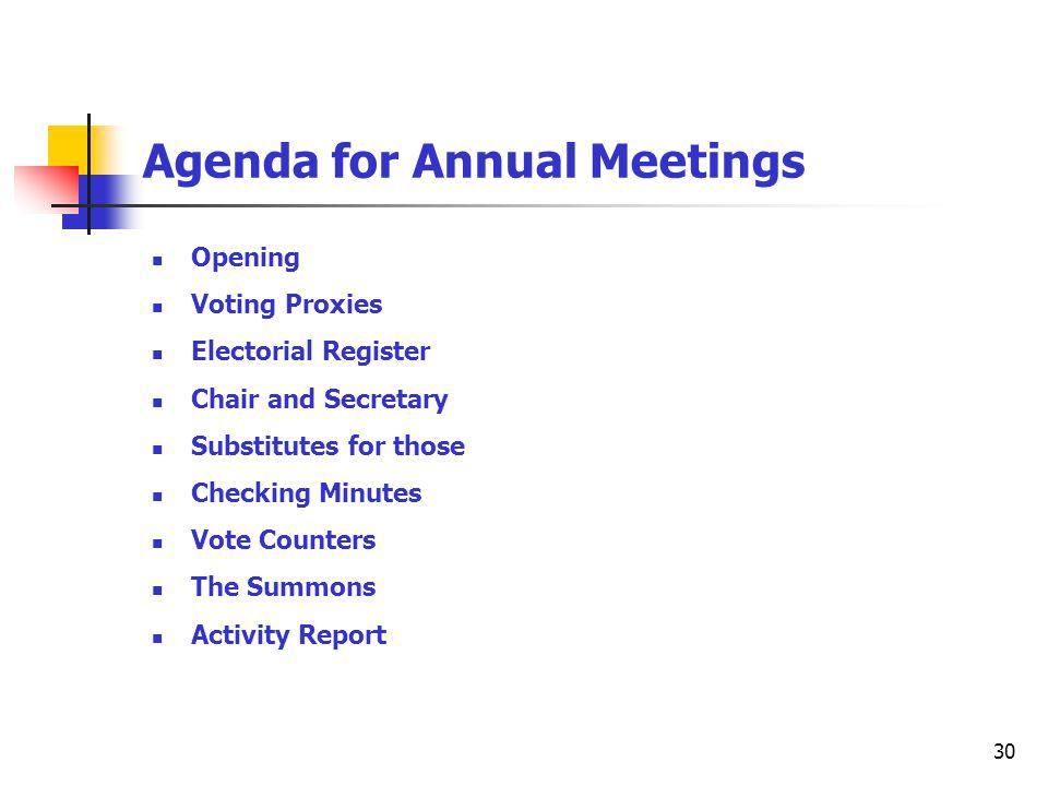 30 Agenda for Annual Meetings Opening Voting Proxies Electorial Register Chair and Secretary Substitutes for those Checking Minutes Vote Counters The Summons Activity Report