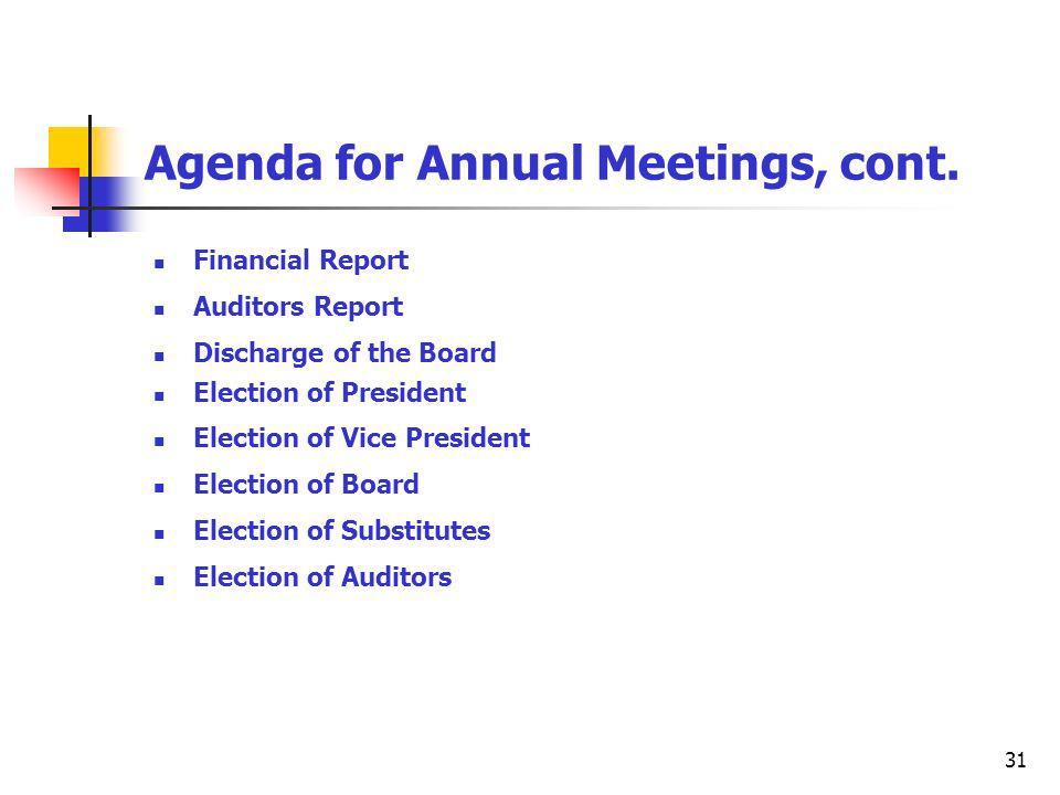 31 Agenda for Annual Meetings, cont.