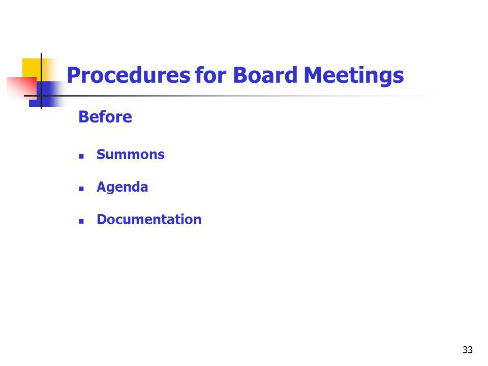 33 Procedures for Board Meetings Before Summons Agenda Documentation