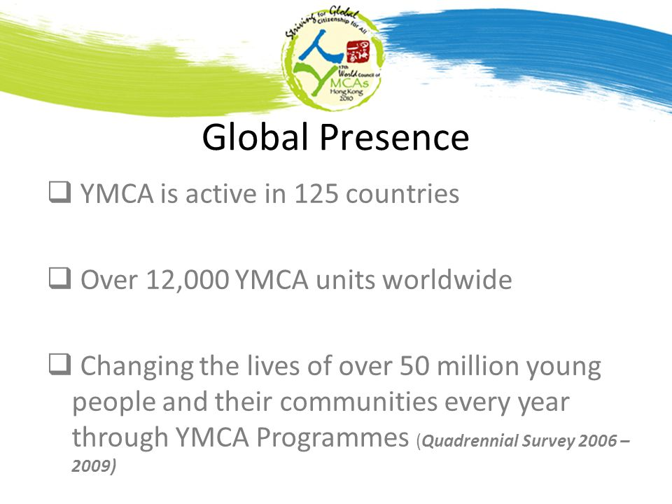 Global Presence YMCA is active in 125 countries Over 12,000 YMCA units worldwide Changing the lives of over 50 million young people and their communities every year through YMCA Programmes (Quadrennial Survey 2006 – 2009)