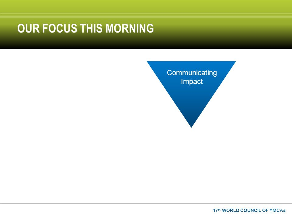 17 th WORLD COUNCIL OF YMCAs OUR FOCUS THIS MORNING Communicating Impact