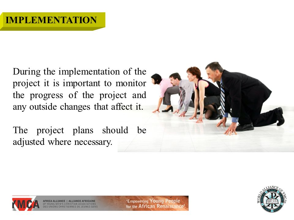 During the implementation of the project it is important to monitor the progress of the project and any outside changes that affect it.
