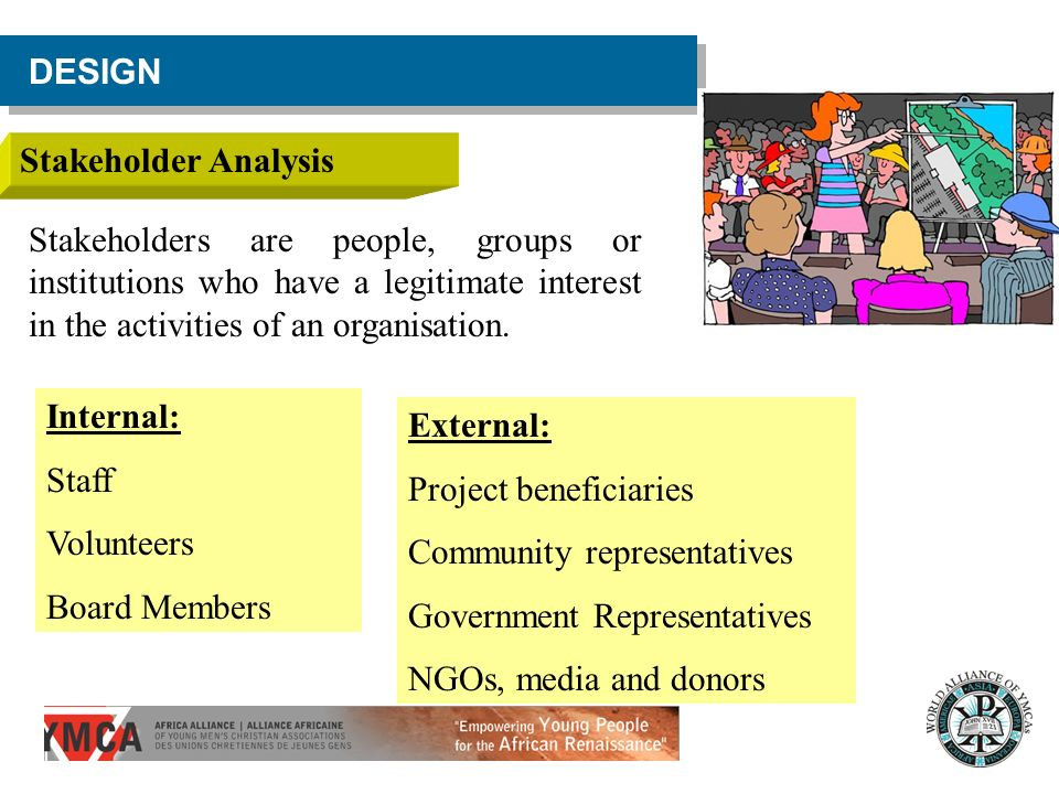 DESIGN Stakeholder Analysis Stakeholders are people, groups or institutions who have a legitimate interest in the activities of an organisation. Inter