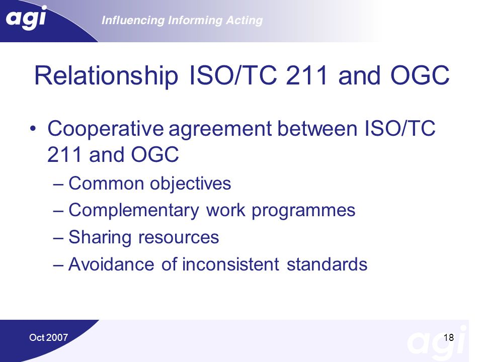 Oct 200718 Relationship ISO/TC 211 and OGC Cooperative agreement between ISO/TC 211 and OGC –Common objectives –Complementary work programmes –Sharing