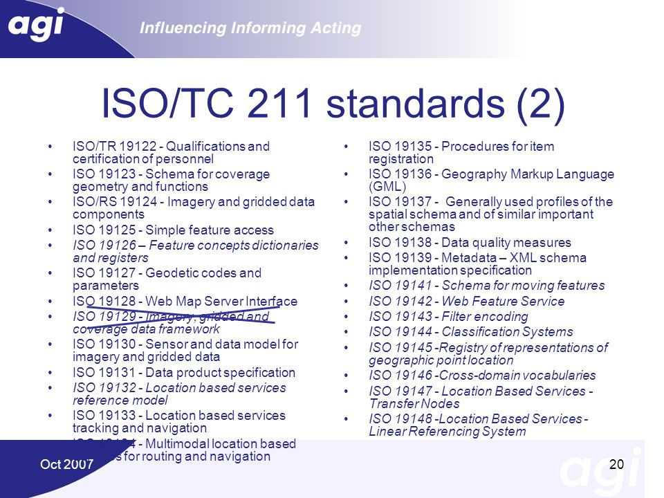 Oct 200720 ISO/TC 211 standards (2) ISO/TR 19122 - Qualifications and certification of personnel ISO 19123 - Schema for coverage geometry and function